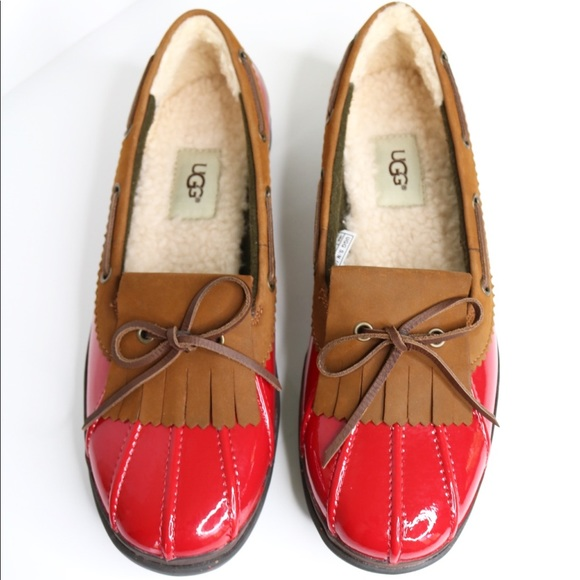 89ea9a10566 UGG Haylie UGGpure Lined Boat Shoe in red